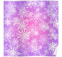 Chaotic Snowflakes on Lilac Background Poster