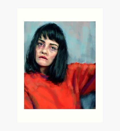 red blue portrait Art Print