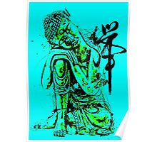 Buddha Colourful Abstract Blue Poster