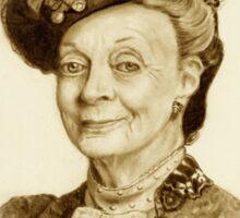 Downton Abbey, Maggie Smith Pencil Portrait, Sepia, Dowager Countess Sticker