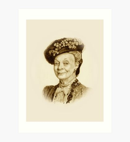 Downton Abbey, Maggie Smith Pencil Portrait, Sepia, Dowager Countess Art Print