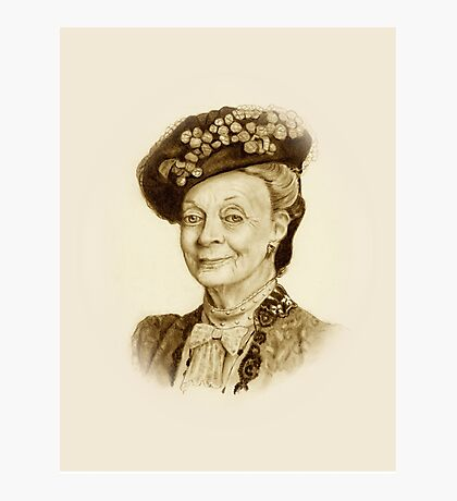 Downton Abbey, Maggie Smith Pencil Portrait, Sepia, Dowager Countess Photographic Print