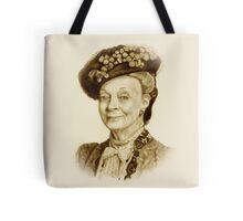 Downton Abbey, Maggie Smith Pencil Portrait, Sepia, Dowager Countess Tote Bag