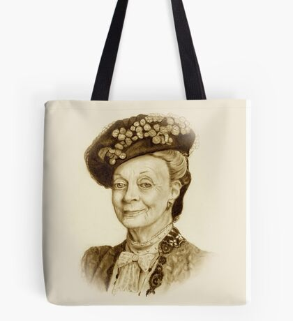 Downton Abbey, Maggie Smith Pencil Portrait, Sepia, Dowager Countess Tote Bag