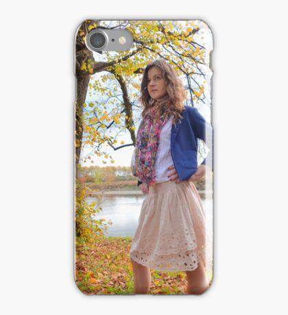 Pretty Girl in the park in Autumn iPhone Case/Skin