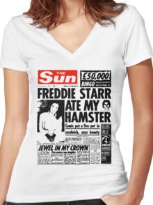 Freddie Starr Ate My Hamster Women's Fitted V-Neck T-Shirt