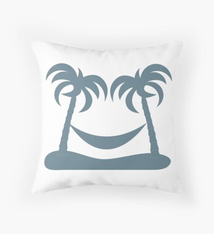 Stylized icon of rest in a hammock under two palm trees Throw Pillow