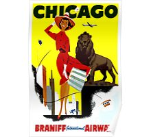 Vintage Airline Windy City Chicago Travel Poster Poster