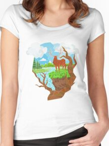 Geometric Landscape Women's Fitted Scoop T-Shirt