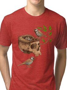colorful illustration of birds making a nest in animal skull Tri-blend T-Shirt