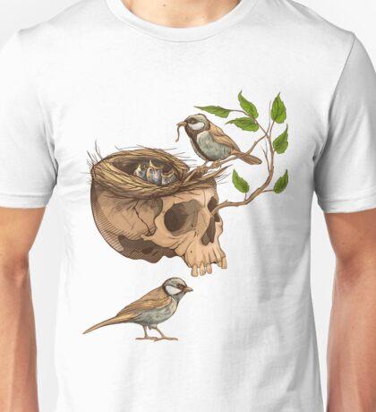 colorful illustration of birds making a nest in animal skull Unisex T-Shirt