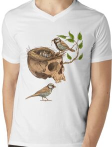 colorful illustration of birds making a nest in animal skull Mens V-Neck T-Shirt
