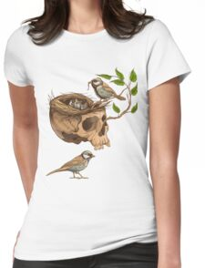 colorful illustration of birds making a nest in animal skull Womens Fitted T-Shirt