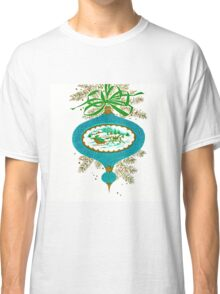Cadillac Christmas in Teal - Vintage, Card, Sleigh, Ride, Horse, Couple, Romantic, Love, Retro, Sweet, Glitter, Blue, Green Classic T-Shirt