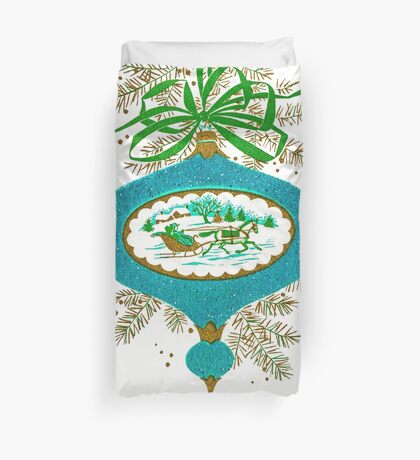 Cadillac Christmas in Teal - Vintage, Card, Sleigh, Ride, Horse, Couple, Romantic, Love, Retro, Sweet, Glitter, Blue, Green Duvet Cover