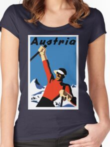 Vintage Austria Ski Travel Poster Women's Fitted Scoop T-Shirt