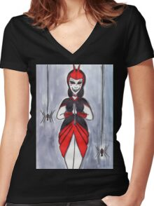 Webspinner Women's Fitted V-Neck T-Shirt