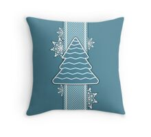 Christmas tree applique background Throw Pillow