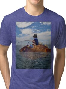 Fishing From A Giant Fish Tri-blend T-Shirt