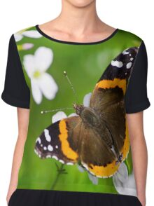 Red Admiral Butterfly Chiffon Top
