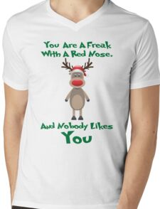 Rudolph Reindeer Christmas Ugly Sweater Funny Nobody Likes You XMAS Mens V-Neck T-Shirt