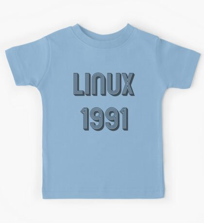 Linux 1991 - Year of 1st Release Black Tri-Linear Font Design Kids Tee