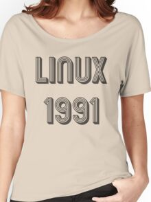 Linux 1991 - Year of 1st Release Black Tri-Linear Font Design Women's Relaxed Fit T-Shirt