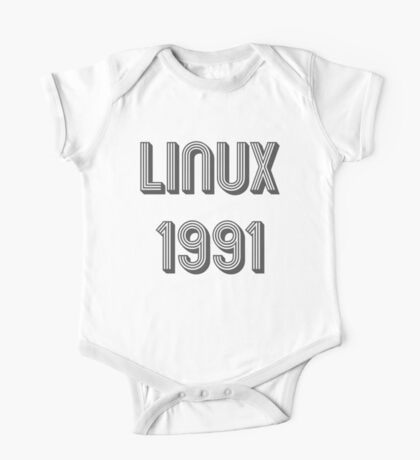 Linux 1991 - Year of 1st Release Black Tri-Linear Font Design One Piece - Short Sleeve