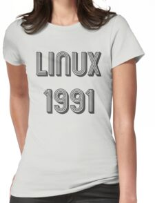 Linux 1991 - Year of 1st Release Black Tri-Linear Font Design Womens Fitted T-Shirt