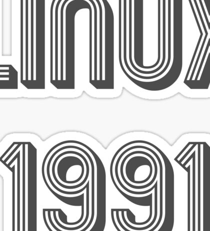 Linux 1991 - Year of 1st Release Black Tri-Linear Font Design Sticker