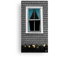 Blue Curtain and Narcissus Canvas Print