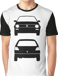 VW Golf MK2 Front and Rear Black Graphic T-Shirt