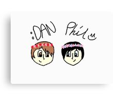 Dan and Phil Cartoon With Flower Crown Canvas Print