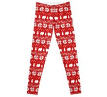 Pomeranian Dog Silhouettes Christmas Sweater Pattern Leggings