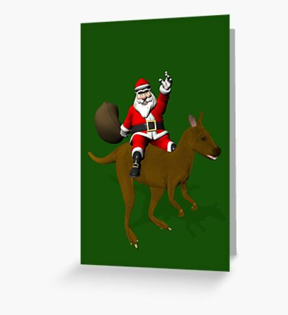 Santa Claus Riding A Kangaroo Greeting Card