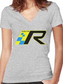 Volvo R Design Racing Graphic YEL2 Women's Fitted V-Neck T-Shirt