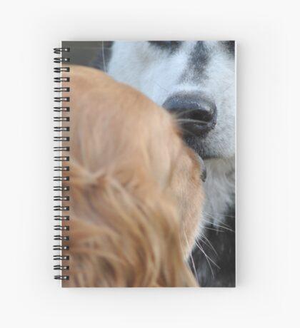 House dog meets wild bear. Spiral Notebook