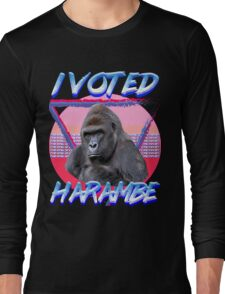'I VOTED HARAMBE' Vintage T-shirt Long Sleeve T-Shirt