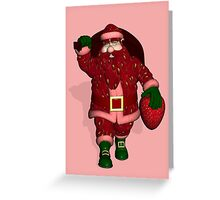 Santa Claus Strawberry Farmer Greeting Card