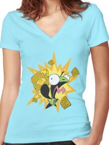 Waffles! Women's Fitted V-Neck T-Shirt