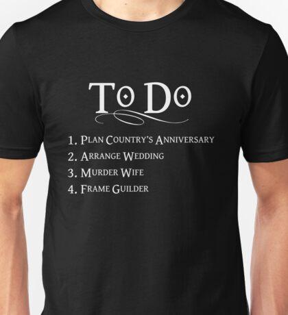 Princess Bride To Do List - White Lettering Unisex T-Shirt