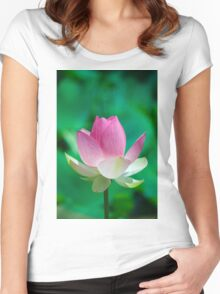 Amazing Pink Lotus Opening. Cards, Art print, Poster Women's Fitted Scoop T-Shirt