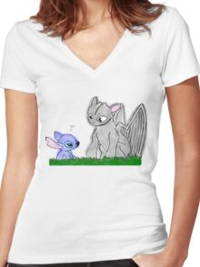 Toothless and Stitch Women's Fitted V-Neck T-Shirt