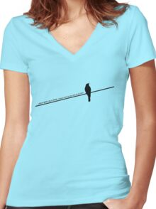 Bird on a wire Women's Fitted V-Neck T-Shirt
