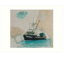 MARION W Fishing Boat Cathy Peek Nautical Chart Map Art Print