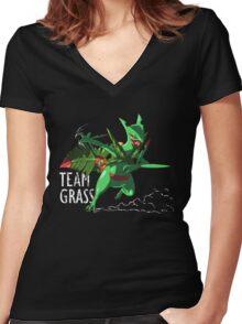 Team Grass - Mega Sceptile Women's Fitted V-Neck T-Shirt