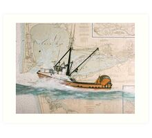 PEGGY S Trawl Fish Boat Cathy Peek Nautical Chart Map Art Print