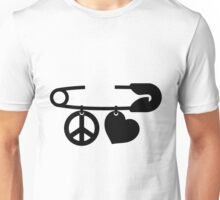 Safety Pin Peace & Love Unisex T-Shirt