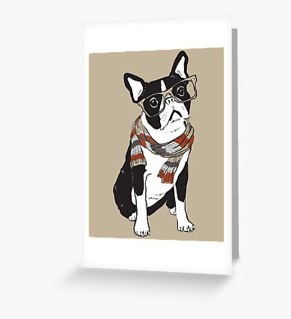"""Pupster"" Hipster Animal Boston Terrier Dog Greeting Card"