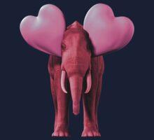 Romantic Pink Elephant One Piece - Short Sleeve